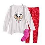 Girls 4-14 & Plus Size SO® Christmas Top & Thermal Fleece Leggings Pajama Set with Socks