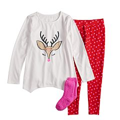 Girls 4-14   Plus Size SO® Christmas Top   Thermal Fleece Leggings Pajama 598ae1bc5