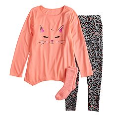 Girls 4-14 & Plus Size SO® Top & Thermal Fleece Leggings Pajama Set with Socks