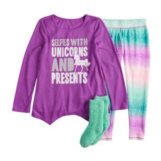 Girls 4-14 & Plus Size SO® Top & Thermal Fleece Leggings Pajama Set with Socks