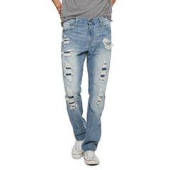 Men's Urban Pipeline® Light Wash Straight-Leg Destructed Jeans