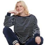 Plus Size POPSUGAR Striped Velour Top