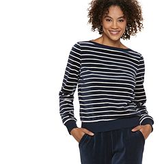 Women's POPSUGAR Striped Velour Top