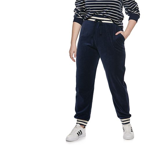 Plus Size POPSUGAR Striped-Trim Velour Jogger Pants