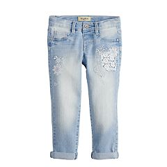 Girls 4-6x Squeeze Lace Cuffed Girlfriend Jeans
