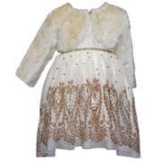 Toddler Girl Blueberi Boulevard Faux-Fur Shrug & Glittery Dress Set