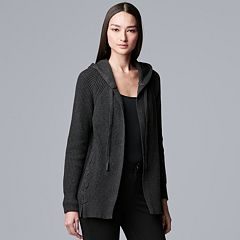 Women's Simply Vera Vera Wang Hooded Cardigan Sweater