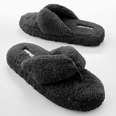 Dearfoams Classic Plush Thong Slippers