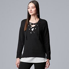 Women's Simply Vera Vera Wang Mock-Layer Lace Up Sweater