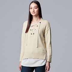 Women's Simply Vera Vera Wang Mock-Layer Lace Up Sweater