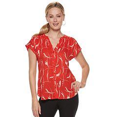 22ccb64bd27c4c Womens Red Short Sleeve Shirts   Blouses - Tops