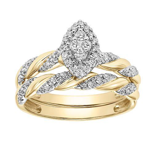 c574bef27 Lovemark 10k Gold 1/4 Carat T.W. Diamond Marquise Engagement ...
