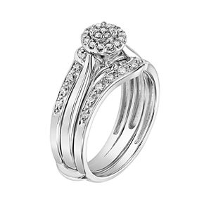Lovemark 10k White Gold 1/3 Carat T.W. Diamond Engagement Ring Set