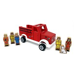 Jack Rabbit Creations Magnetic Wooden Fire Truck Set