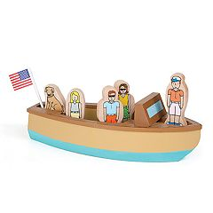 Jack Rabbit Creations Magnetic Wooden Vintage Lake Boat Set