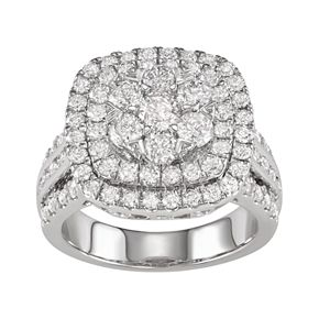 14k White Gold 3 Carat T.W. Diamond Cluster Ring