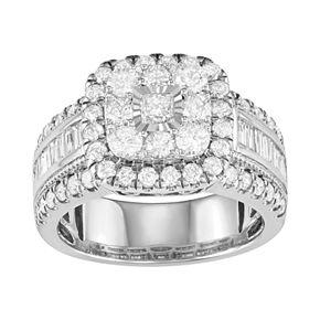 10k White Gold 2 Carat T.W. Diamond Cluster Ring
