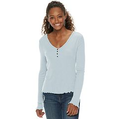 Juniors' SO® Long Sleeve Ribbed Henley