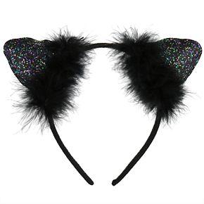 Girls 4-16 Elli by Capelli Glitter & Feather Cat Ears Headband