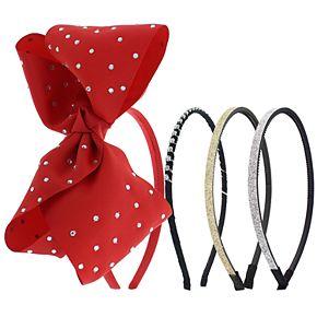 Girls 4-16 Elli by Capelli 4-pack Bow & Glitter Headbands