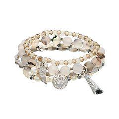 Tassel, Bead & Charm Detail Stretch Bracelet Set