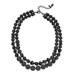 Simply Vera Vera Wang Black Tone Bead Detail Multi Strand Necklace