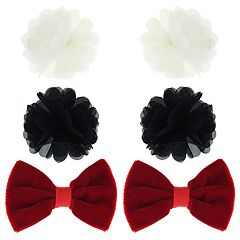Girls 4-16 Elli by Capelli Chiffon Flower & Velvet Bow Hair Clip Set