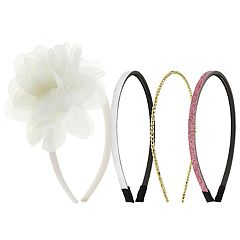 Girls 4-16 Elli by Capelli 4-pack Flower & Glitter Headbands