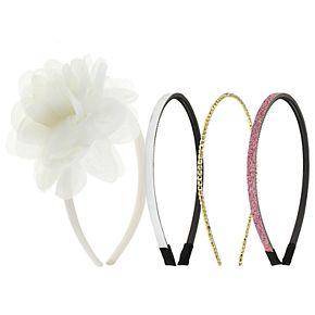 Girls 4-16 Elli by Capelli 4-pack Flower & Glitter Headbands