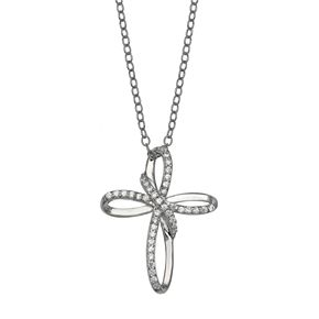 PRIMROSE Sterling Silver Cubic Zirconia Loop Cross Pendant Necklace
