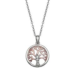 PRIMROSE Two-Tone 18k Rose Gold Over Silver Cubic Zirconia Family Tree Pendant Necklace