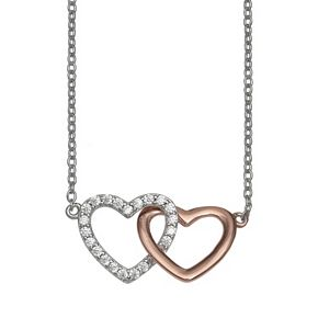 PRIMROSE Two-Tone 18k Rose Gold Over Silver Cubic Zirconia Interlocking Heart Necklace