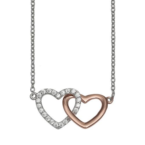 PRIMROSE Two-Tone 18k Rose Gold Over Silver Cubic Zirconia