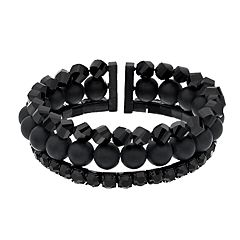 Simply Vera Vera Wang Black Tone Bead Detail Multi Row Stretch Bracelet