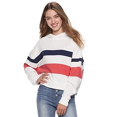 Juniors' SO® Oversized Striped Hoodie