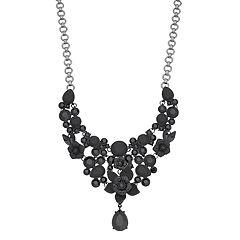 Simply Vera Vera Wang Black Tone Bead Detail Bib & Drop Necklace