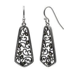 PRIMROSE Sterling Silver Marcasite Filigree Drop Earrings