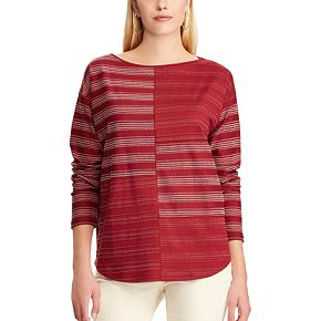 Petite Chaps Striped Boatneck Top