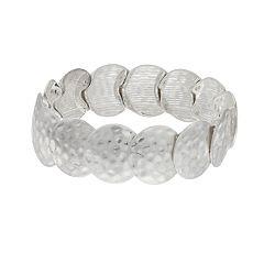 Silver Tone Hammered Detail Disc Stretch Bracelet