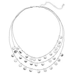 Layered Silver Tone Disc Detail Multi Strand Necklace