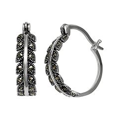 PRIMROSE Sterling Silver Marcasite Leaf Clip-On Hoop Earrings