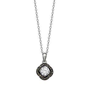 PRIMROSE Sterling Silver Cubic Zirconia & Marcasite Love Knot Pendant Necklace