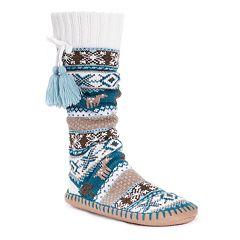 Women's MUK LUKS Tasseled Gripper Slipper Socks