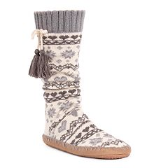 Women's MUK LUKS Tasseled Gripper Slipper Socks