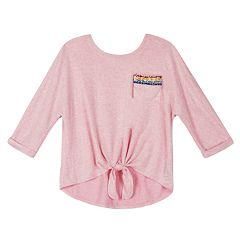 Girls 7-16 IZ Amy Byer Tie Front Rainbow Detail Pocket Top