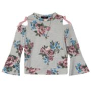 Girls 7-16 IZ Amy Byer Floral Pattern Cold Shoulder Cutout Bell Sleeve Necklace Detail Top