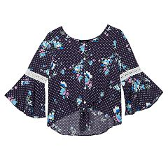 Girls 7-16 IZ Amy Byer Floral Pattern Bell Sleeve Tie Front Top