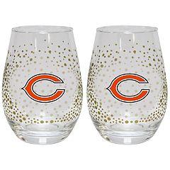 Chicago Bears Glitter Stemless Wine Glass Set