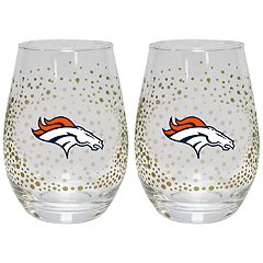Denver Broncos Glitter Stemless Wine Glass Set
