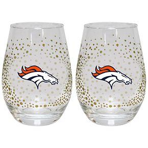 Denver Broncos Glitter Stemless Wine Glass Set